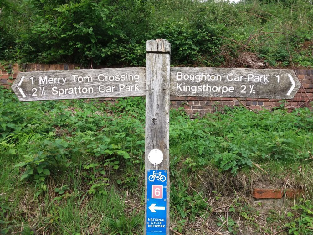 Which way to go..... Footpath Finger Post, Brampton Valley Way, Nothamptonshire