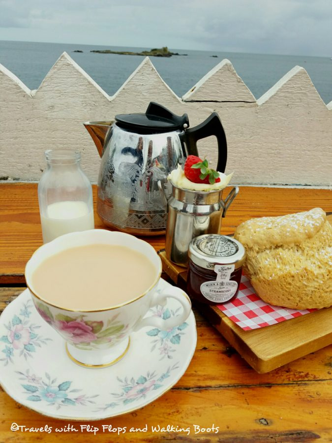 Rock Pool Cafe Cornish Cream Tea with Vintage China overlooking Mount's Bay