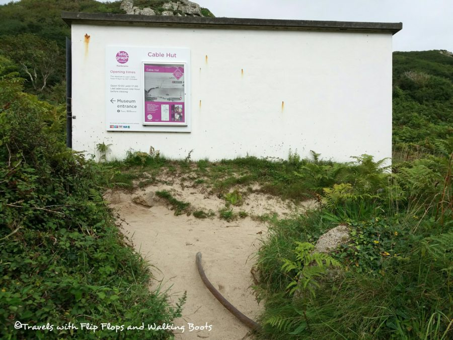 Porthcurno Cable Hut and exposed armoured cable