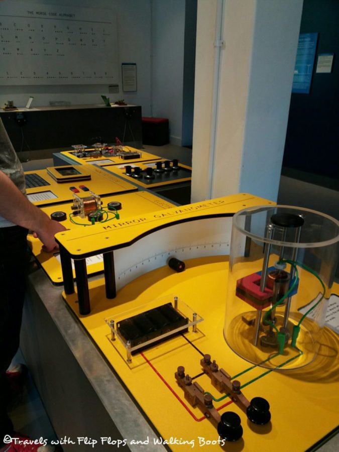 Interactive table with Mirror Galvanometer, Electromagnets and more