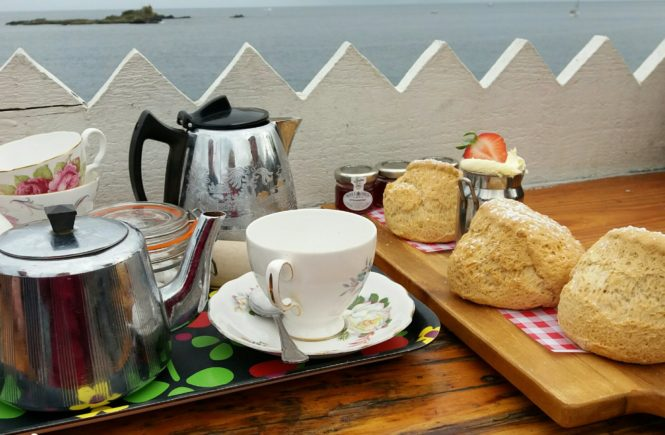 A cream tea with a sea view, huge scones at the Rock Pool Cafe