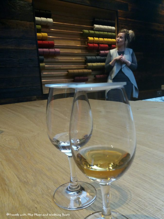In the Whisky Tasting Room, tasting the raw Hearach Whisky.