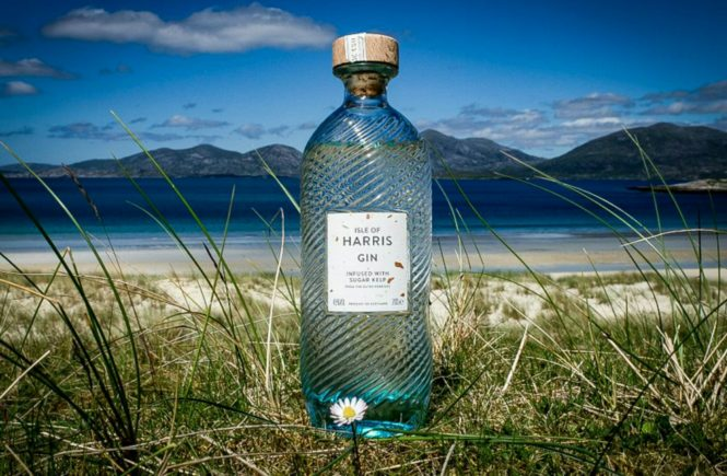 Harris Gin and the Beautiful Isle of Harris overlooking Luskentyre Beach and the North Harris Hills