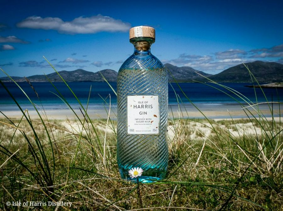 Harris Gin and the Beautiful Isle of Harris overlooking Luskentyre Beach and the North Harris Hills
